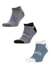 3-Pack Mixed Stripe Coolmax Sneaker Socks